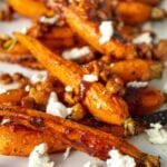 Roasted Carrots with Candied Walnuts and Goat Cheese Crumbles
