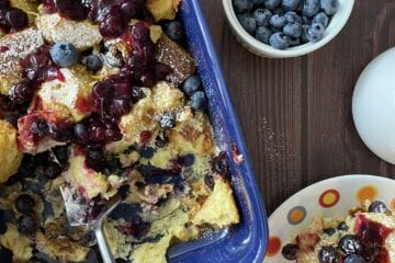 Blueberry and Lemon Bread Pudding