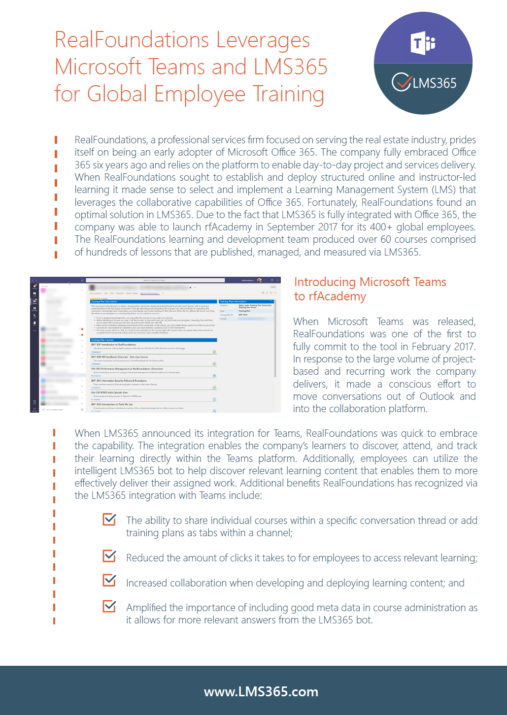 Screenshot of LMS365 Case Study focused on Microsoft Teams, featuring RealFoundations