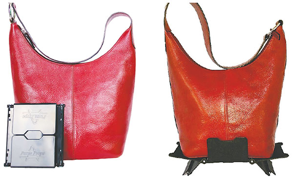 """The Purse Prop is available in red, pink, royal blue, caramel, brown and black. Leslie Johnson Dorsett hopes to get more financial help to promote her products from the TV show """"Shark Tank.''"""