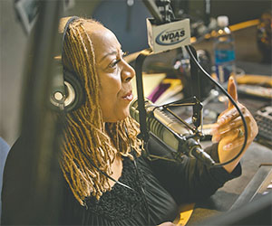 Patty Jackson, radio personality on WDAS FM, speaks on the air on Feb. 19, 2016 in the studio during live show in Bala Cynwyd, Pa. She had a stroke at age 52.(ALEJANDRO A. ALVAREZ/PHILADELPHIA DAILY NEWS/TNS)
