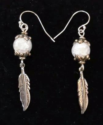 Snowball and Feather Earrings BSwiger