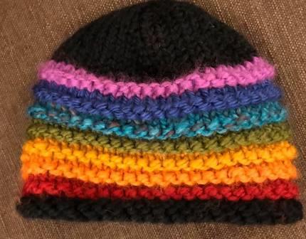 Black Rainbow Knit Hat SS