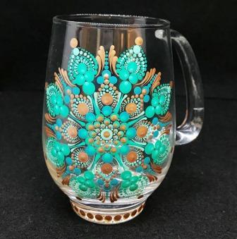 Bronze, Aqua, & Teal Glass Mug B
