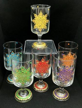 Rainbow Mandala Glasses - Set of 6