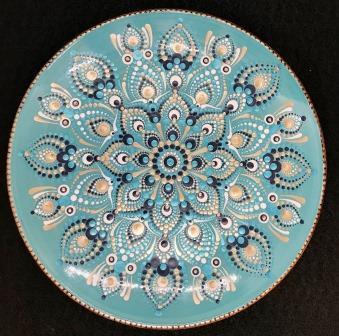 Teal, Blue, and Gold Mandala Plate