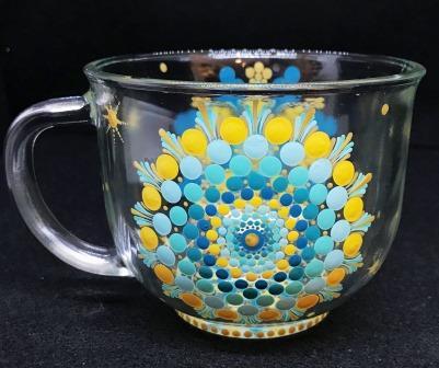 Yellow, Aqua, & Teal Glass Mug