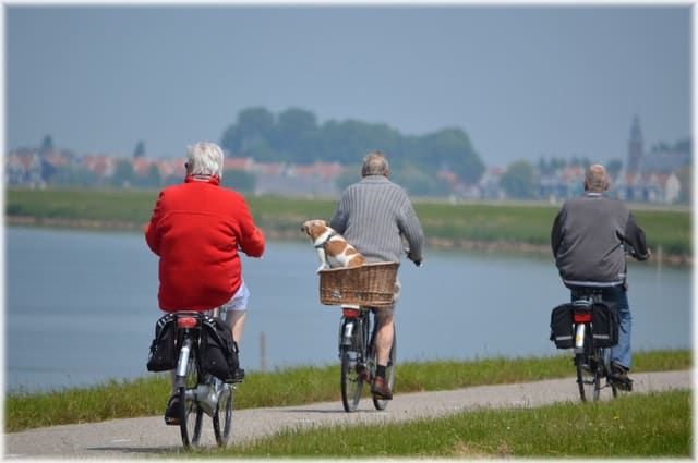 Active elderly cyclist.