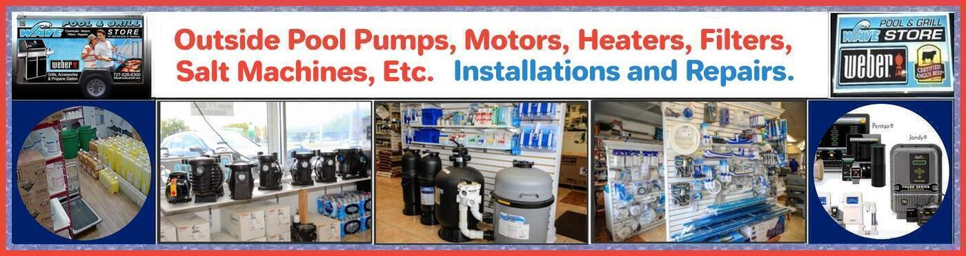 Outside Pool Pumps, Motors, Heaters, Filters, Salt Machines, Etc. Installations and Repairs.