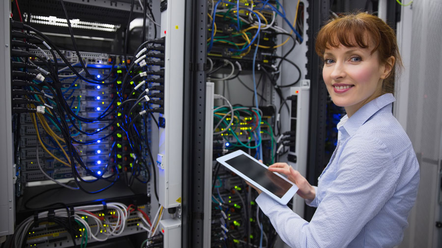 IT professional working on business computer server network
