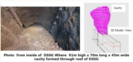 Massive rock fall in underground cavern