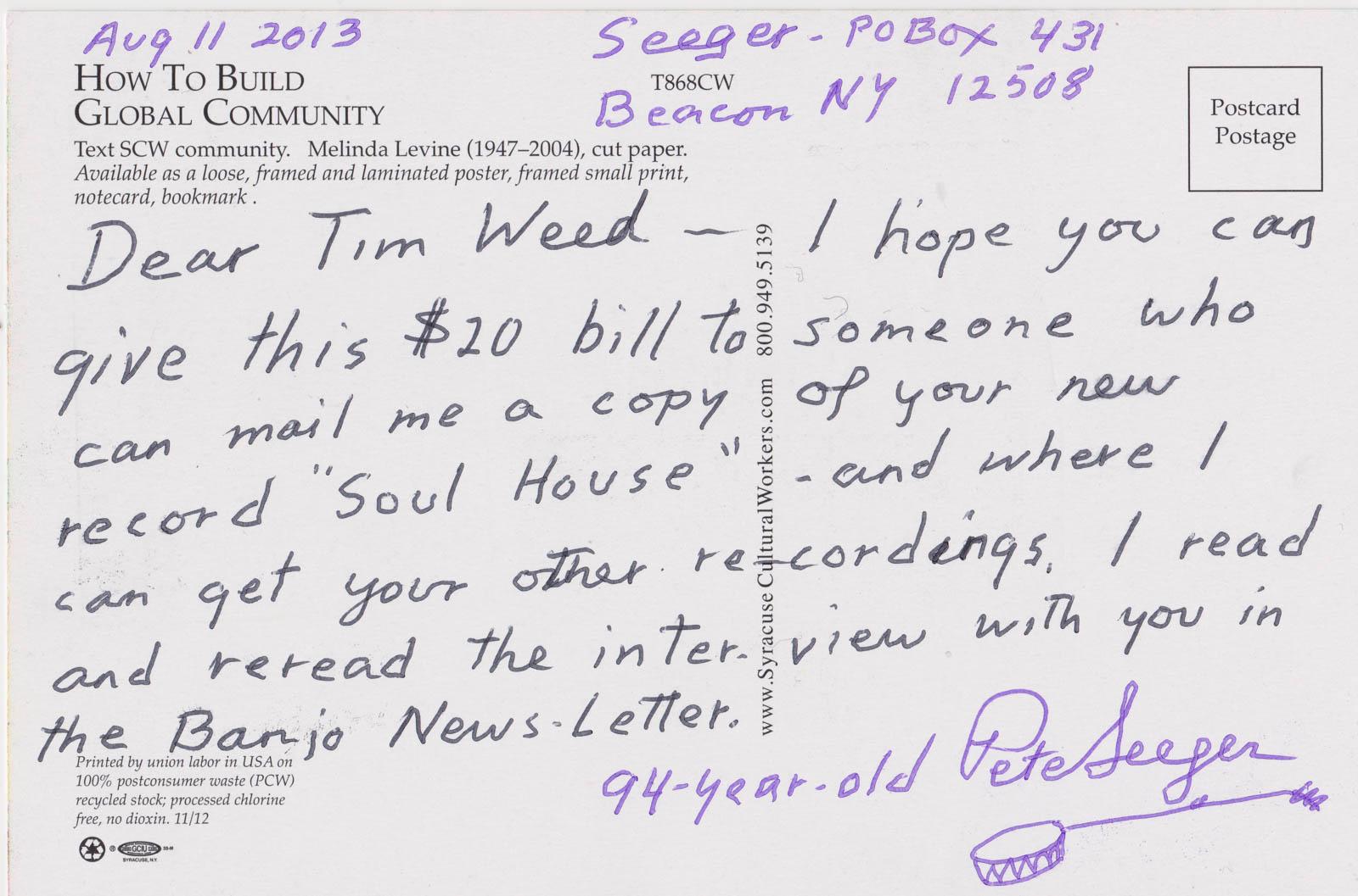 Pete Seeger Postcard