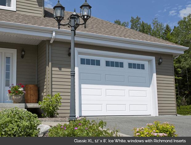 Classic XL Garaga garage door in Ice White with Richmond Window Inserts