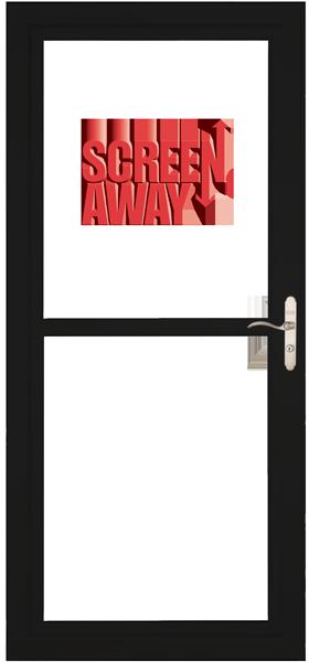 Larson 146 Full View Black Screen Away Door with Brushed Nickel Handle