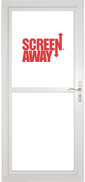 Larson 146 Full View White Screen Away Door with Brushed Nickel Handle