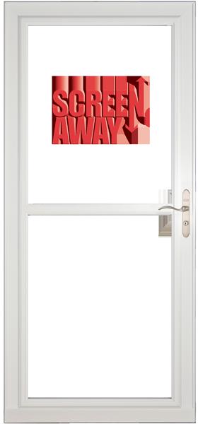 Larson 146 Full View White Screen Away Door with Brushed Nickel Handle