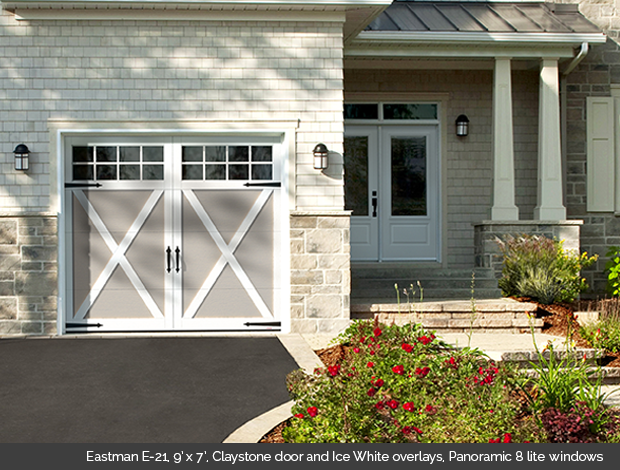 Eastman E 21 Garaga garage door in Claystone with Ice White Overlays and Panoramic 8 lite windows