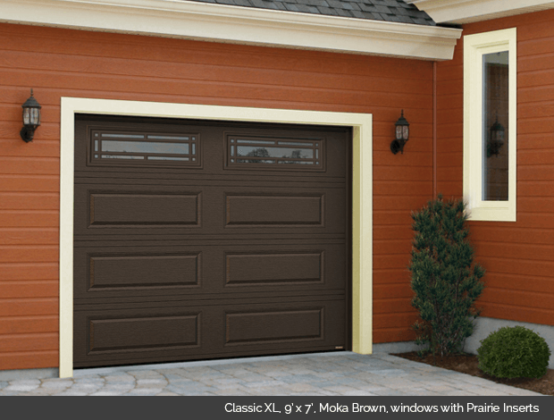 Classic XL Garaga garage door in Moka Brown with Prairie window inserts