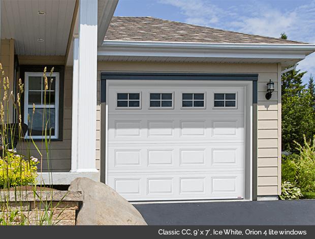 Classic CC Garaga garage door in Ice white with Orion 4 Lite windows