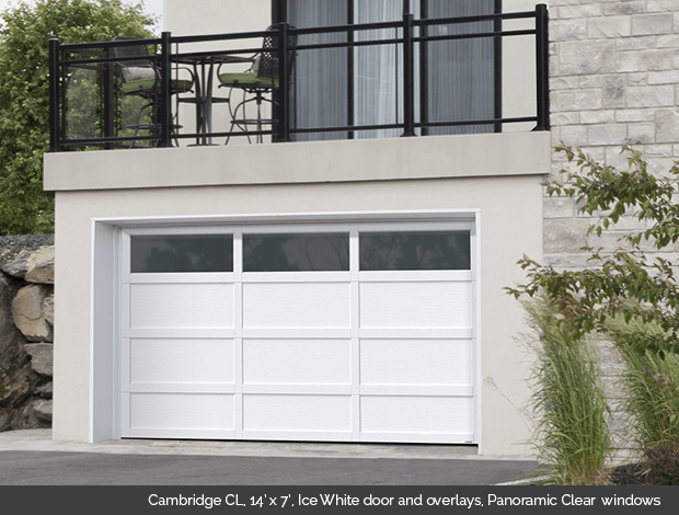 Cambridge CL Garaga garage door in Ice White with Ice White overlays and Panoramic Clear windows