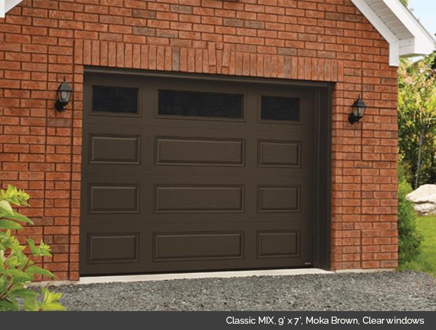 Classic MIX Garaga garage door in Moka Brown with clear windows