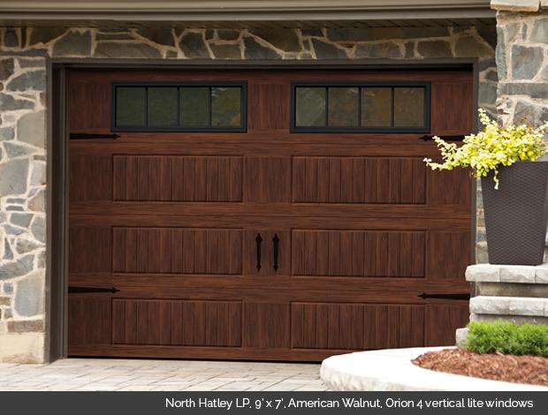 North Hatley LP Garaga garage door in American Walnut with Orion 4 lite windows