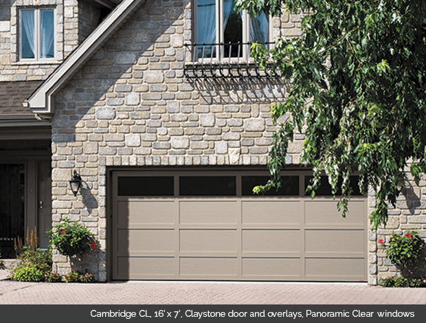 Cambridge CL Garaga garage door in Claystone with Claystone overlays and Panoramic Clear windows