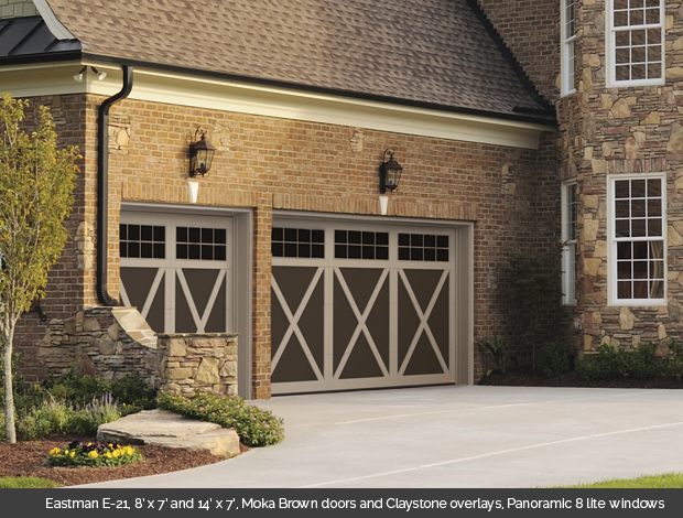 Eastman E 21 Garaga garage door in Moka Brown with Claystone Overlays and Panoramic 8 lite windows