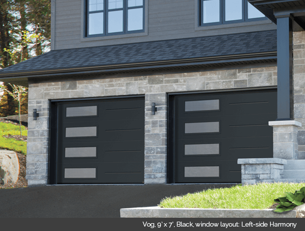 Vog Garaga garage door in Black with Left side Harmony windows