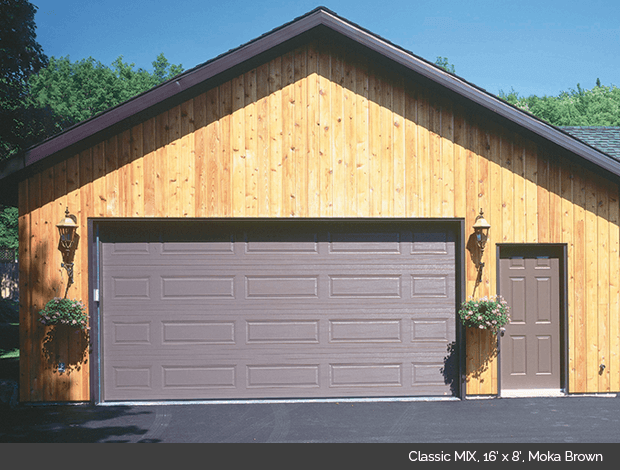 Classic Mix Garaga garage door in Moka Brown