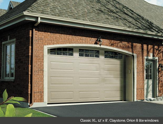 Classic XL Garaga garage door in Claystone with Orion 8 lite windows