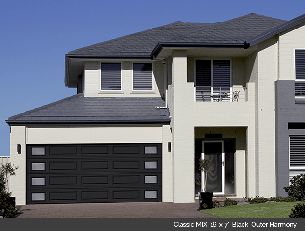 Classic MIX Garaga garage door in Black with outer Harmony windows