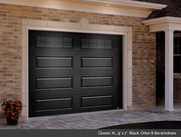 Classic XL Garaga garage door in Black with Orion 8 lite windows