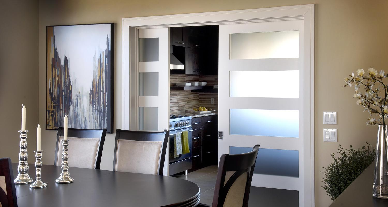Milette 805H 5 Lite Satin White Glass French Interior Doors