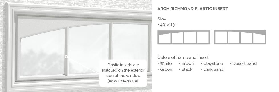 Arch Richmond Plastic Insert for Garaga garage door windows