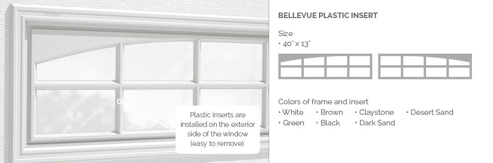 Bellevue Plastic Garage Door Glass Insert