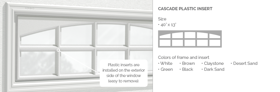 Cascade Plastic Insert for Garaga garage door windows