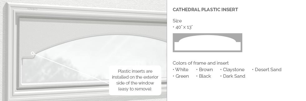 Cathedral Plastic Insert for Garaga garage door windows