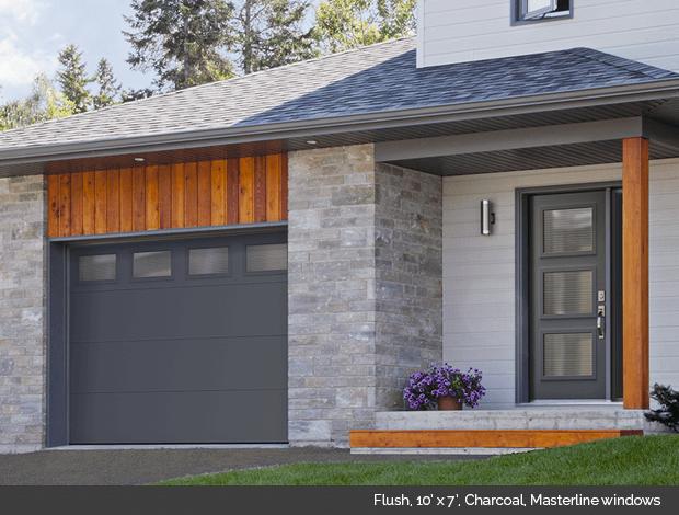 Flush Garaga garage door in Charcoal with Masterline windows