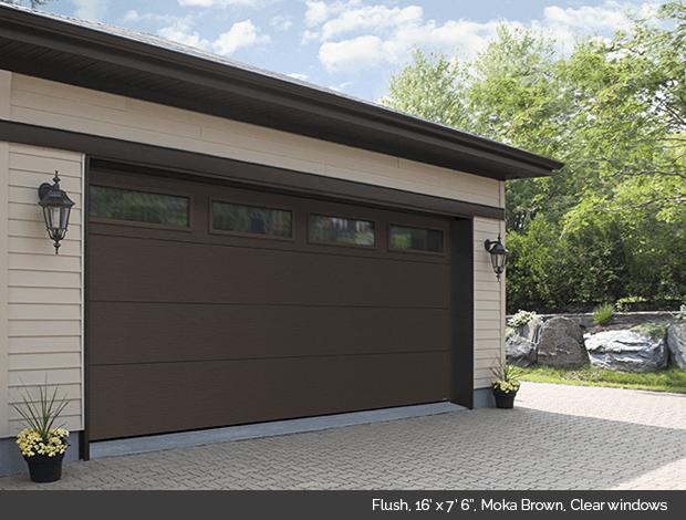 Flush Garaga garage door in Moka Brown with clear windows