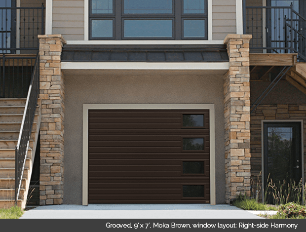 Grooved Garaga garage door in Moka Brown with Harmony windows on the right side