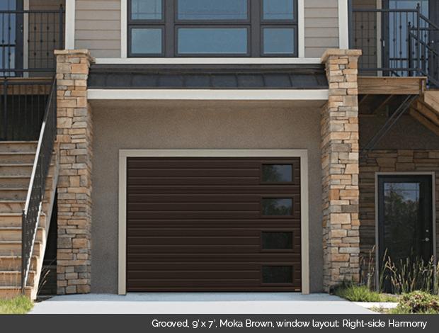 Grooved Garaga garage door in Moka Brown with right side Harmony windows