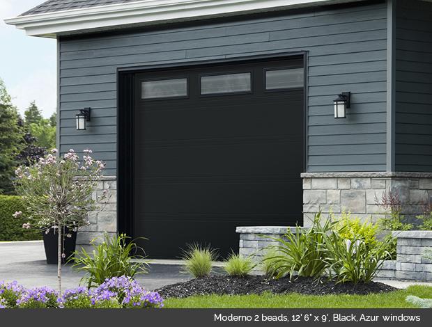 Moderno 2 beads Garaga garage door with Azur Glass