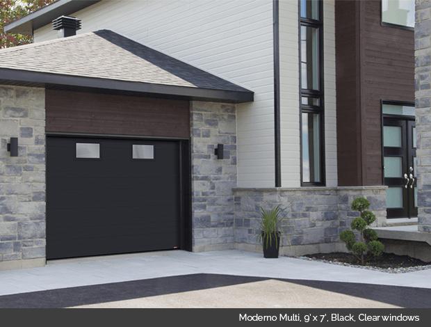 Moderno Multi Garaga garage door in Black with Clear windows