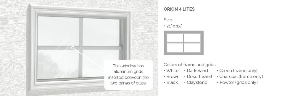 Orion 4 light Plastic Garage Door Glass Insert