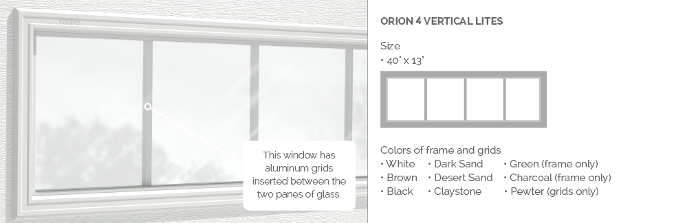 Orion 4 lites for Garaga garage door windows