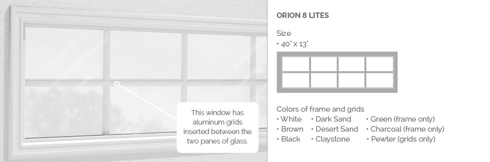 Orion 8 lites for Garaga garage door windows