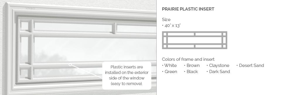 Prairie Plastic Insert for Garaga garage door windows