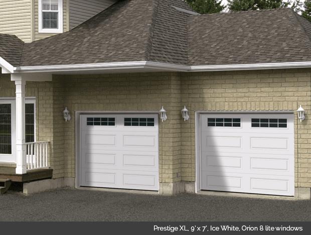 Prestige XL Garaga garage door in Ice White with Orion 8 lite windows