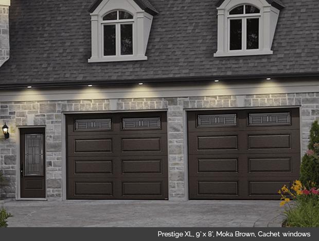 Prestige XL Garaga garage door in Moka Brown with Cachet windows
